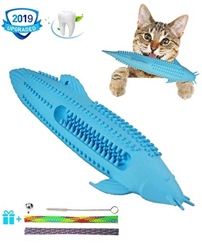 HESHPAWS Cat Teeth Cleaning Toys,Cat Toothbrush Toy,Interactive Cat Catnip Toys for Chewing,Fish Lobster Shape Toothbrush Chewing Pet Toy,Natural Rubber Teeth Cleaning Toys for Cats