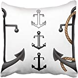 Pillow Covers Print Boat Antique Anchor Anchored Iron Maritime Metal Nautical Ocean Rope Polyester Zippered 18x18 Square Pillow Case for Home Bed Couch Sofa