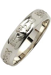 Mens 14k White Gold Beveled Rounded Claddagh Wedding Ring