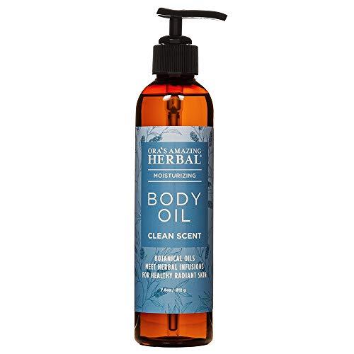 Moisturizing Body Oil For Men and Women, Dry Skin, Natural Massage Oil, Paraben Free Natural Vegan Body Oil With Pump, Organic Jojoba and Apricot Oil Calendula,Ora's Amazing Herbal