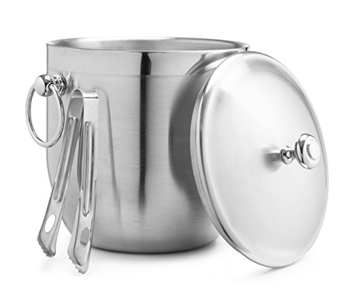 Bellemain 3 Liter Insulated Stainless Steel Ice Bucket with Bonus Ice Tongs (Cocktail Ice Tongs)