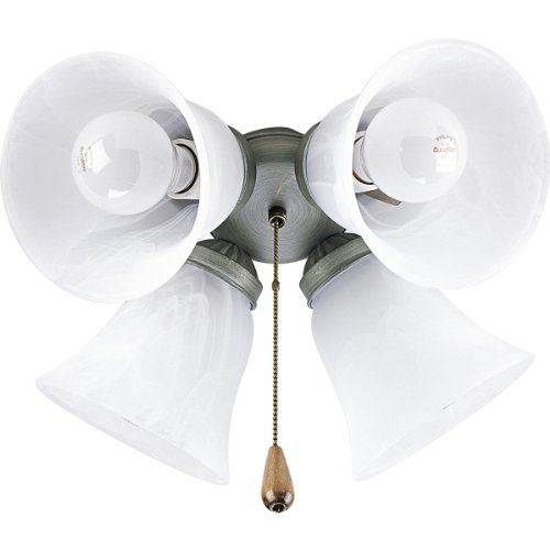 Progress Lighting P2610-44 Four-Light Kit with White Washed Alabaster Style Glass For Use with P2500 and P2501 Ceiling Fans, Oxford Silver