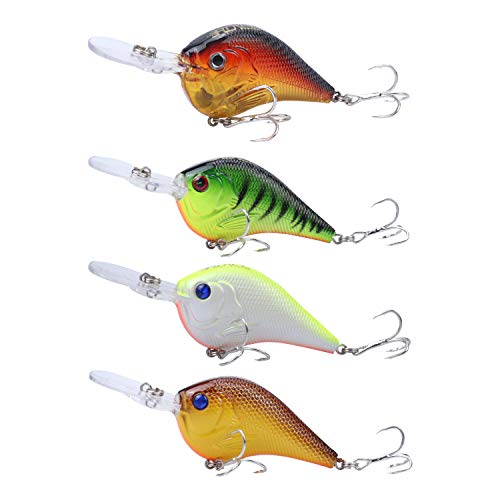 RUNCL Anchor Box - Deep Diving Crankbaits DDC112, Wobbler Fishing Lures, Hard Fishing Lures (Pack of 4)