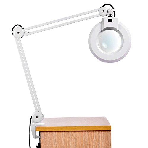 Led desk lamp bangweier 8x magnifying desk table clamp lamp mount magnifier light glass lens