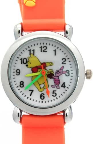 TimerMall Winnie The Pooh Pattern Dial Orange Rubber Band Lovely Children's Watches