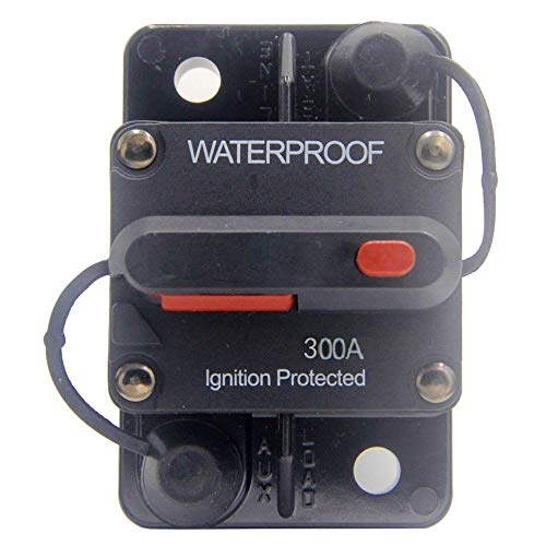 ANJOSHI 300 Amp Circuit Breaker 20A-300A with Manual Reset Waterproof Inline Fuse Inverter for Marine Trolling Motors Boat ATV Manual Power 12V-36VDC