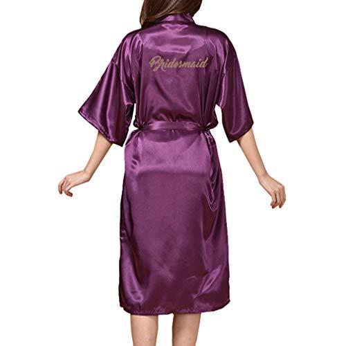 Pijamas para Mujer, Satinado Seda Batas de Kimono Color Sólido Manga 3/4 Vestido de Noche Cuello en V Vestido de Mañana Bolsillo Albornoz con Cinturón: ...