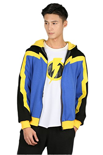 Static Shock Hoodie Sweatshirt Jacket Costume for Adult Halloween Cosplay M ()