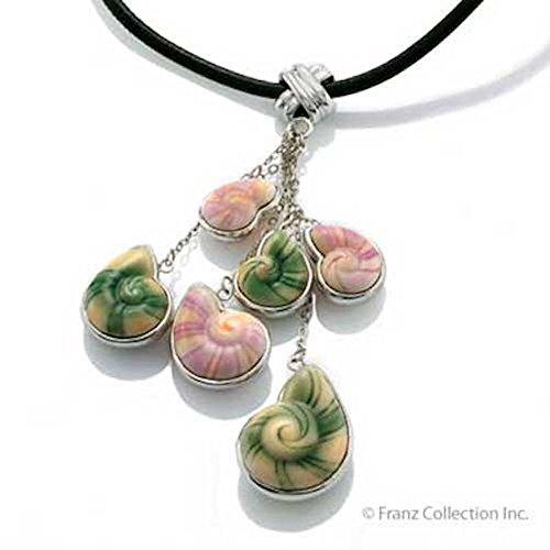Porcelain Franz Jewelry - Franz Porcelain Seashell Rhodium Plated Brass & Porcelain Necklace
