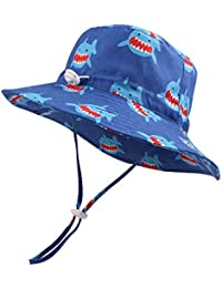 afb21cc4d02330 Baby Sun Hat Boys Bucket Hat Toddler Floppy Hat UPF 50+ Wide Brim Chin Strap