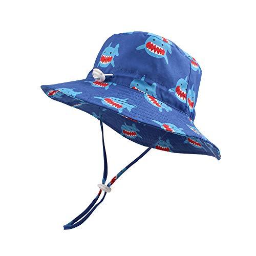 Baby Sun Hat Boys Bucket Hat Toddler Floppy Hat UPF 50+ Wide Brim Chin Strap Summer Play Hat (Whale, S(6-12M))