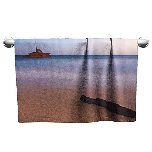 duommhome Ocean Decor Soft Superfine Fiber Bath Towel Shipwreck on Beach at Dusk in South Australian Lands by The Sea Shore Navy Nautical W10 x L39 Multi ()