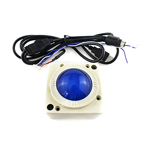 2 Inch Arcade Game Trackball Controller LED Round Illuminated Yellow Blue USB PS3 Connector Machine Cabinet Console Accessories Durable New ()