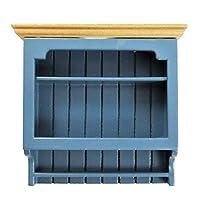 Melody Jane Dollhouse Blue & Pine Wall Shelf Unit Modern Miniature Kitchen Furniture