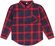 Edjude Baby Boys Girls Plaid Shirt Little Big Boys Girls Casual Long Sleeve Button Down Top Shirt Clothes with