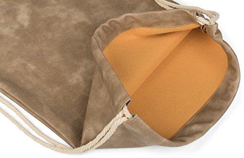 styleBREAKER bolsa de deporte de cuero artificial, mochila, bolsa de deporte, bolso, unisex 02012189, color:Gris claro Marrón