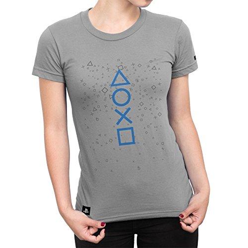 Camiseta Playstation Feminina Fizz Symbols - Cinza - G
