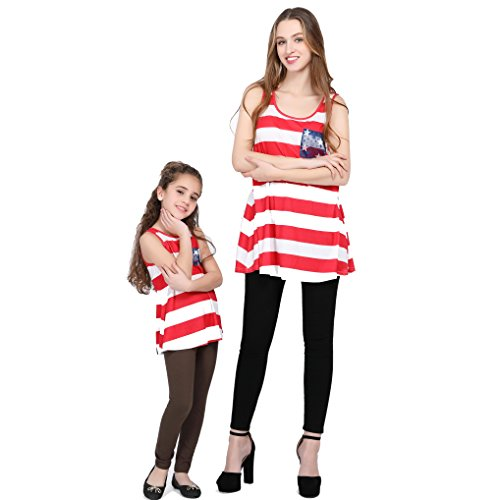 L-fannitily 2018 Family Matching American Flag Lace Pocket Stripe Back Lace Top Coat Fashion T-Shirts (10T) by L-fannitily (Image #1)