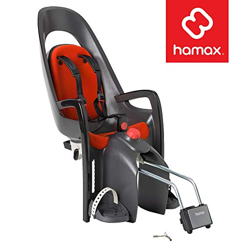 Hamax Caress Child Bike Seat, Ultra-Shock Absorbing Frame or Rack Rear Mount, Adjustable to Fit Kids (Baby Through Toddler) 9 mo - 48.5 lb.