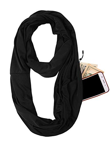 Infinity Pocket Scarf Women - With Yoga Headband - Extreme Soft Travel Scarf for Winter Spring (Black)