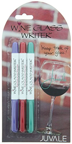 Wine Glass Writer - Drink Marker/Pen - 3 Pack, Metallic Wine Red, Teal, Purple - Holiday Limited Edition by Juvale