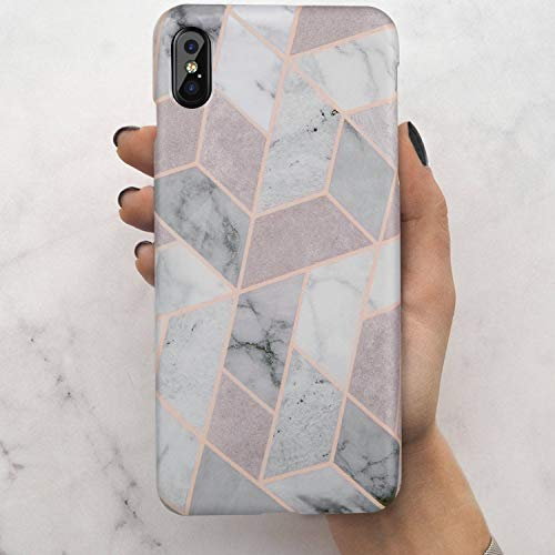 iPhone Xs Max Case,LUMARKE Cute Geometric Grey Marble for Men Women Girls,Slim-Fit Matte TPU Clear Bumper Soft Rubber Silicone Best Protective Thin Cover Fashion Phone Case for iPhone Xs Max [6.5]