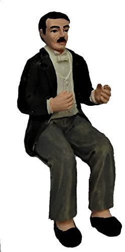 Melody Jane Casa delle Bambole Gentleman in Sera Completo Seduto Persone Resina Figura