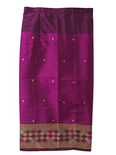 Silk & Fibers Thai Traditional Asian Style Warp Skirt Sarong Freesize (with Hook for DIY) (P) -