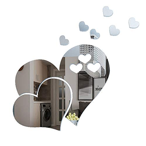 ITTA 3Set/15pcs 3D Acrylic LOVE Heart Mirror Wall Stickers Removable Heart Art Decor Wall Poster Living Room Wedding Room Home Decoration (Silver) ()