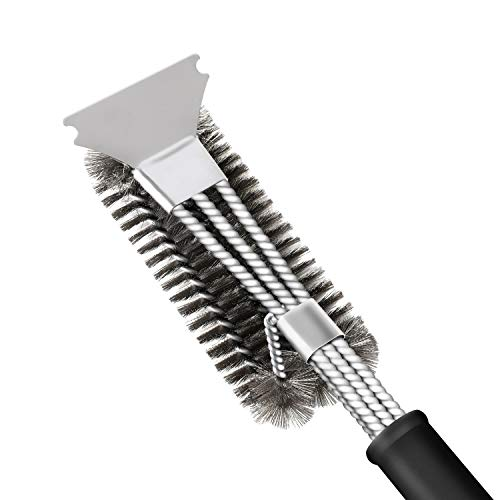 Grill Brush and Scraper, CPANION 3-in-1 BBQ Brush for Grill 18 Inch Stainless Steel Barbecue Cleaner Bristles Free Grill Scrubber for Charcoal Porcelain/Ceramic/Iron/Steel Grill Grates .