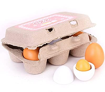 6 pcs Carton Wooden Play Eggs Assembling Toy For Kids Gift Play Pre-school Educational Toy Kitchen Food