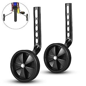 ZOSEN Training Wheels Bike Bicycle Training Wheels Kids Bike Accessory Support Wheels for 12 14 16 18 20 Inch Bicycle (Black, 1 Pair)