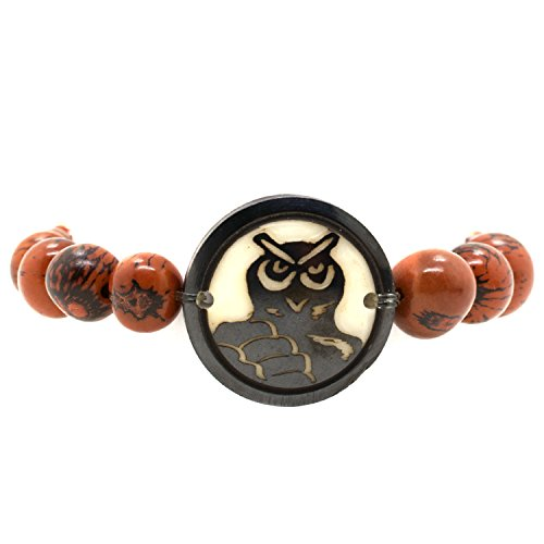 Natural Eco-Friendly Tagua Nut Natural Beaded Bracelet: Owl (Red Beads) (0210 Natural)