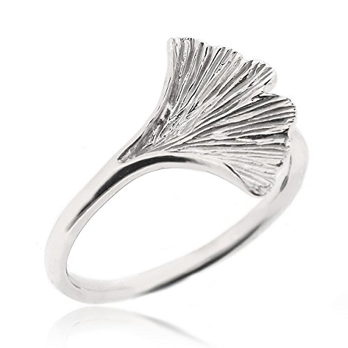SOVATS Ginkgo Leaf Ring For Women 925 Sterling Silver Rhodium Plated - Perfect For Nature Lover and Anniversary Gifts, Size 5