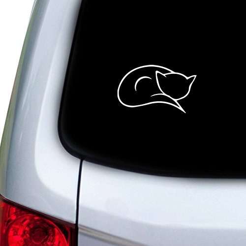 [StickAny Car and Auto Decal Series Cat Outline Sticker for Windows, Doors, Hoods (White)] (Vinyl Cat Hood)
