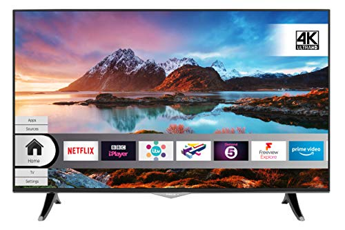 Finlux 49-FUD-8020 49 Inch Smart 4K Ultra-HD HDR LED TV with Freeview Play, Black/Chrome (2019 Model)