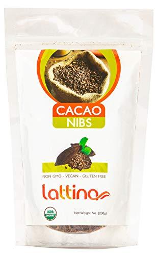 Lattina Organic Cacao Nibs Raw Unsweetened - Sugar Free, Gluten Free, Non GMO - Natural Energy Enhancer - Iron, Calcium, Magnesium (7 oz.)