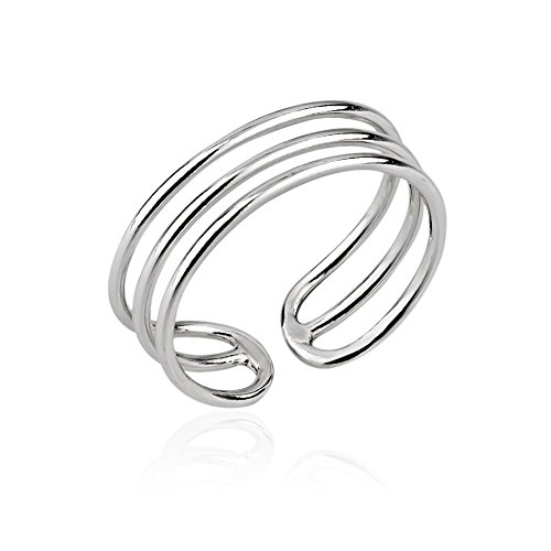 Chuvora 925 Sterling Silver Horizontal Three (3) Thin Lines Simple Band Minimalist Toe Ring, (Tribal Sun Sterling Silver Ring)