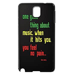 Samsung Galaxy Note 3 Case Bob Marley Quotes One Good Thing About Music,when is Hits You,you Feel no Pain, Bob Marley Bloomingbluerose, {Black}