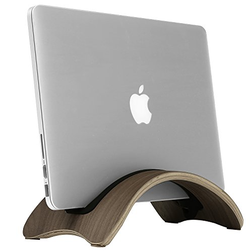 Vertical Stand Laptop Wood Stand for MacBook (Brown) - 1