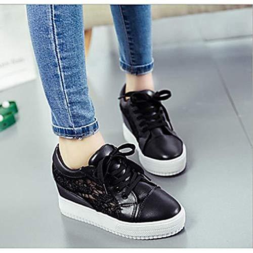 Été Black US5 Talon CN34 Plat UK3 Noir Printemps Femme Basket Chaussures TTSHOES Bout Blanc Rond Confort EU35 Tulle 4IqHOxU