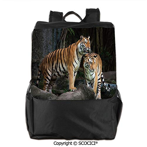 Portable Travel Backpack, Tiger Couple in The Jungle on Big Rocks Image Wild Cats in Nature Print, for Children, classmates and Friends,19 OZ ()