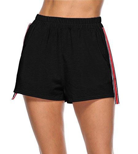 Cucitura Da Fitness Pantaloncini Nero Shorts Donne Righe Casual Hot Estivo Sportive Pants 4IgqgF8