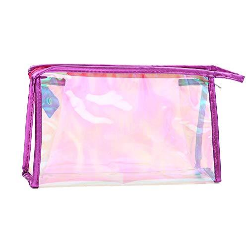 - KFSO Transparent Pencil Pen Case,Discolored Transparent Portable Makeup Zipper Cosmetic Bag Travel Wash Toothbrush Pouch Organizer Bag (Hot Pink)