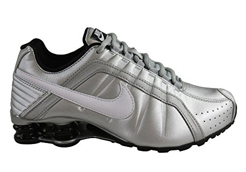 Nike Womens Shox Junior Metallic Silver/White-Black (6.5)