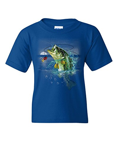 Bass Fishing Youth T-Shirt Fisherman Camping Hobby Angler Lake River Kids Tee Royal Blue M