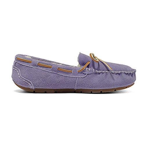 Enllerviid Dames Bont Gevoerde Suede Mocassins Comfort Home Slipper Slip Op Plat Rijden Instappers Schoenen Paars