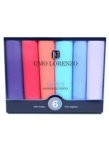 Men's 6pc Colorful Boxed Fancy 100% Cotton Handkerchiefs Hankies