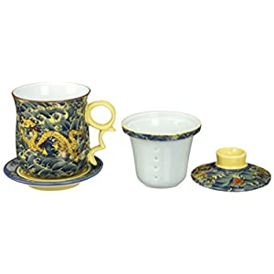 Moyishi Chinese Teaware Black Porcelain Bone Tea Cups Tea Mug (With Lid) Black Dragon