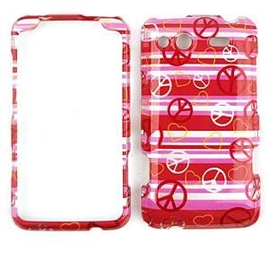 HTC SALSA Transparent Design Peace Signs and Hearts on Pink HARD PROTECTOR COVER CASE / SNAP ON PERFECT FIT CASE